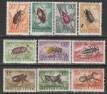 Венгрия 1954 год. Насекомые, 10 марок (наклейка)