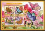 Буркина Фасо 2019 год. Бабочки на цветах, гашёный малый лист