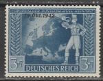 (Рейх) 1942 год. Подписание почтовой конвенции в Вене, 1 марка с надпечаткой. 3+7
