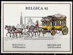 """Бельгия 1982 год. Международная филвыставка """"BELGICA-82"""" в Брюсселе. Дилижанс, блок"""