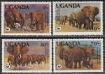 Уганда 1983 год. WWF. Африканский слон, 4 марки