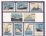 Набор спичечных этикеток. Корабли науки, 1960 год, голубой цвет, 9 штук на листе