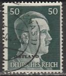 Германия (Рейх) 1941 год. Рейхсканцлер А. Гитлер, стандарт (ном. 50 пф.), 1 гашёная марка, надпечатка ostland