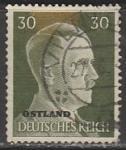 Германия (Рейх) 1941 год. Рейхсканцлер А. Гитлер, стандарт (ном. 30 пф.), 1 гашёная марка, надпечатка ostland