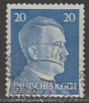 Германия (Рейх) 1941 год. Рейхсканцлер А. Гитлер, стандарт (ном. 20 пф.), 1 марка (гашёная)