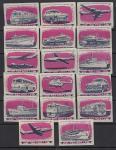 Набор спичечных этикеток. Транспорт, 1963 год, 18 штук
