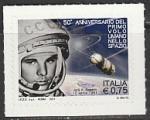 Италия 2011 год. 50 лет космическому полёту Юрия Гагарина, 1 марка (самоклейка) (н