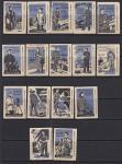 Набор спичечных этикеток. Рабочая одежда, 1960 год, фиолетовые на белой бумаге, 16 штук