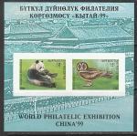 Киргизия 1999 год. Фауна: панда и сова, блок (н
