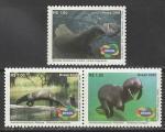 Бразилия 2008 год. Редкие млекопитающие Амазонки, 3 марки (н