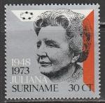 Суринам 1973 год. Королева Нидерландов Юлиана, 1 марка