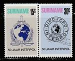Суринам 1973 год. 50 лет Интерполу, 2 марки