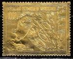 """Мавритания 1969 год. Выход на окололунную орбиту корабля """"Аполлон-8"""", 1 марка (золотая фольга)"""