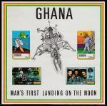 Гана 1970 год. Год со дня первого полёта человека на Луну, блок (б/зубц.)