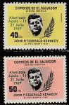 """Сальвадор 1969 год. Первая пилотируемая посадка на Луну """"Аполлона-11"""". Джон Кеннеди, 2 марки с надпечаткой"""