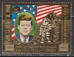 """Камбоджа 1974 год. 10 лет со дня смерти Джона Кеннеди. Космическая программа """"Аполлон"""", 1 марка (золотая фольга)"""