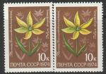 СССР 1974 год. Цветы Средней Азии. Тюльпан. Разновидность - разный оттенок, 2 марки (4354)