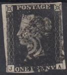 Англия 1840 год. ПЕРВАЯ в истории почтовая марка. Черный пенни, 1 гашеная марка