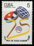 """Куба 1986 год. 25 лет Государственной вещательной корпорации """"Радио Гавана Куба"""", 1 марка"""