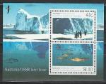 Австралия и СССР 1990 год, совместный выпуск. Научное сотрудничество с Советским Союзом в Антарктиде. 1 блок.