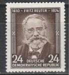 ГДР 1954 год, Фриц Рейтер, немецкий писатель. 1 марка. наклейка