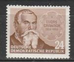ГДР 1953 год, Лукас Кранач, 1 марка.  наклейка