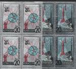 СССР 1965, День Космонавтики, Фольга, 2 квартблока
