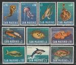 Морская Фауна, Сан-Марино 1966 год, 10 марок.