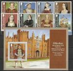 Гибралтар 2009, Король Генрих VIII, 8 марок + блок*