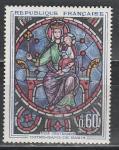 Франция 1964 год. 800 лет собору Парижской Богоматери. Витраж. 1 марка.