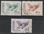 Голубь по рисунку Пикассо, Китай 1953 год, 3 гашёные марки. За мир во всем мире (3-й выпуск).