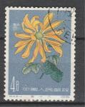 Хризантема, №583, Китай 1961, 1 гаш. марка