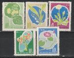 Цветы, КНДР 1966 год, 5 марок