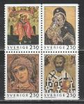 Швеция 1992 год, Рождество, Русские Иконы, квартблок. совместный выпуск