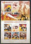 Пожарные, Техника. Транспорт.  Гвинея-Бисау 2009 год, малый лист + блок