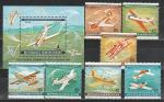 Монголия 1980 год, Самолеты, 7 марок+блок.