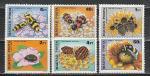 Насекомые на Цветах, Венгрия 1980 год, 6 марок. наклейк