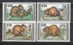 Монголия 1989 ГОД. Бобры. 4 марки