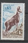 Франция 1971 год. Защита природы. Серна из семейства козьих. 1 марка