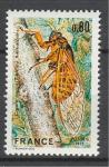 Охрана природы. Цикада. Насекомые. Франция. 1977 год. 1 марка.