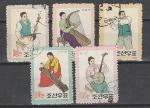Музыкальные Инструменты, КНДР 1962 год, 5 гашеных марок  .