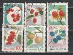 Ягоды, КНДР 1966 год, 6 гашеных  марок