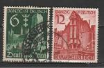 Рейх 1939 год. Реинтеграция Гданьска на немецкий язык. Здания церквей. 2 гашеных марки