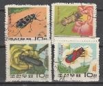 Насекомые, КНДР 1963 год, 4 гашеные марки .