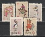 Музыкальные Инструменты, КНДР 1963 год, 5 гашеные марок .