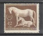 Рейх 1944 год. Скачки. Лошадь с жеребенком. 1 марка. наклейка