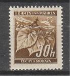 Рейх Богемия 1941 г, Стандарт, Листья, 1 марка. без клея