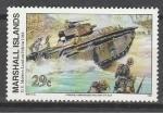 Маршалловы Острова 1994 год, История 2-й Мировой войны. Танк Амфибия, 1 марка. (н81)