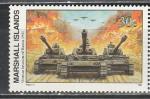 Маршалловы Острова 1991 год, История 2-й Мировой войны, Вторжение в Россию 1941 год., 1 марка. (н22). танки