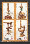 ГДР 1980 г, Микроскопы, 4 марки. Наклейка